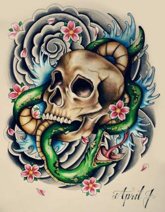 Japanese Waves Snake And Skull Tattoo Flash