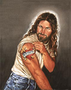 Jesus Muscles Tattoo Painting