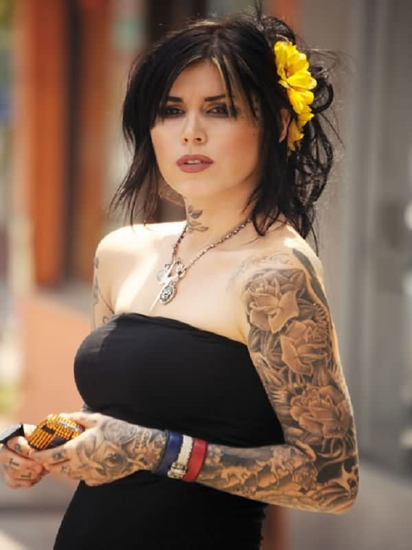 Kat Von D Full Sleeve Tattoos