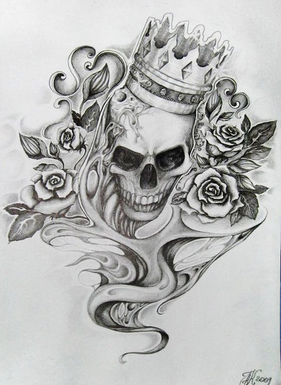 King Skull And Roses Tattoo Designs