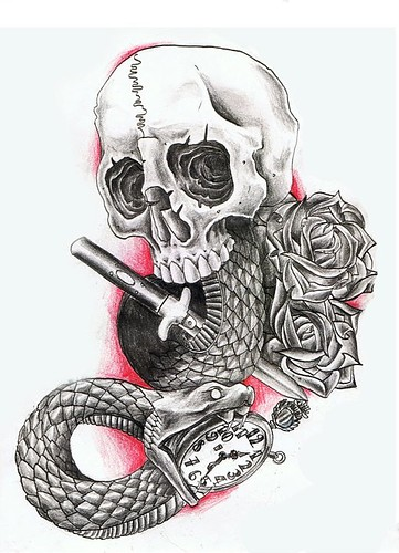 Knife Snake Watch And Skull Tattoo Design