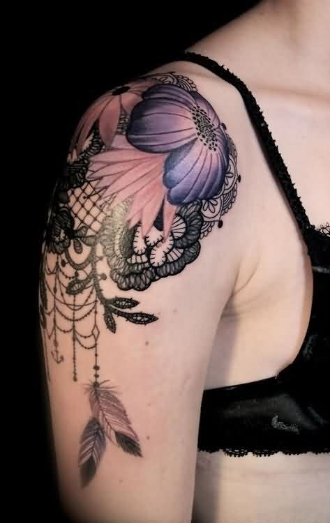 Lace And Purple Flower Tattoos On Shoulder