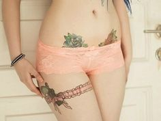 Lace Garter Belt Tattoo On Upper Thigh