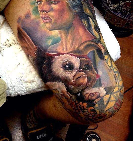 Lady Portrait And Little Monkey Tattoos On Thigh