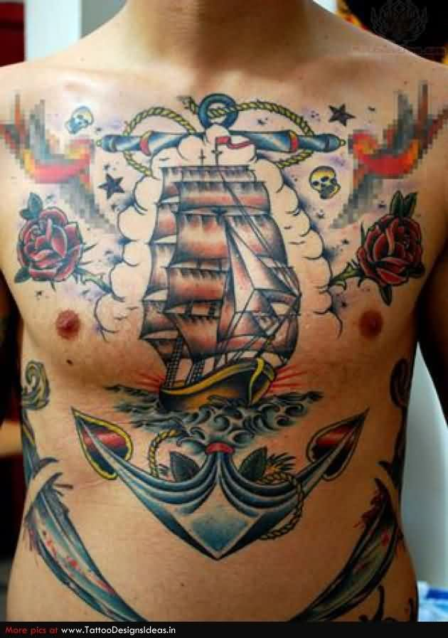 Large Anchor Ship And Red Roses Tattoos On Chest