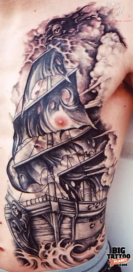 Large Black Ink Ship Tattoo On Half Side Of Body