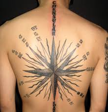Large Grey Ink Nautical Star Tattoo On Backside