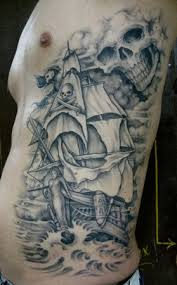 Large Grey Ink Pirate Ship And Skull Tattoos On Side