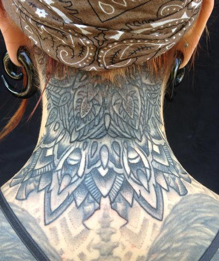 Large Grey Mandala Back Neck Tattoo