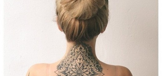 Large Grey Mandala Neck Tattoos