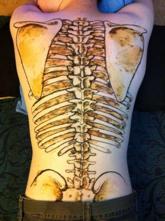 Large Henna Skeleton Tattoo On Back Body