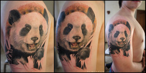 Large Panda Head Shoulder Tattoos For Men