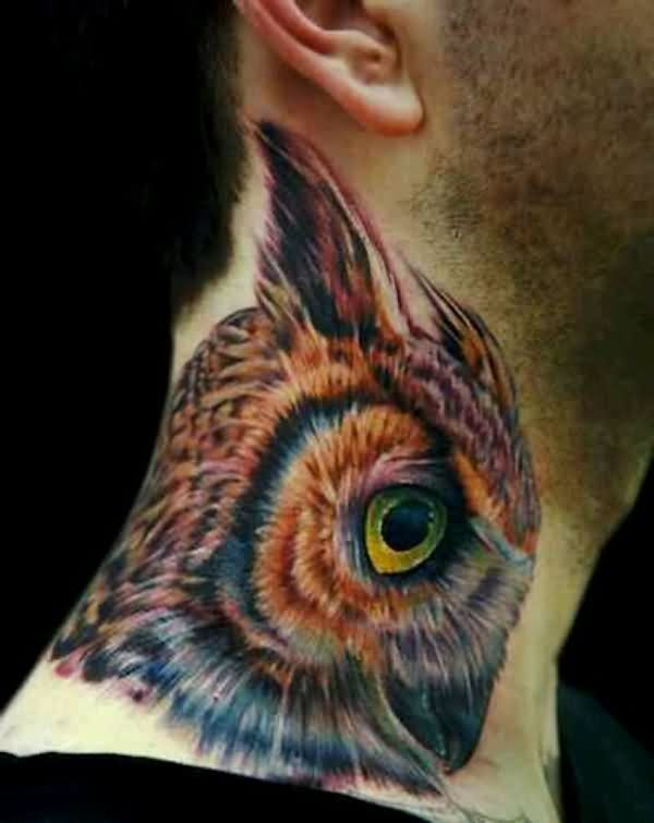 Large Realistic Owl Head Side Neck Tattoo For Men