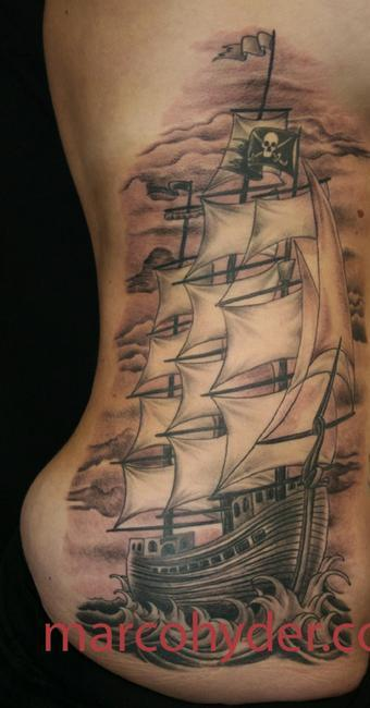Large Sailing Ship Tattoo On Right Side