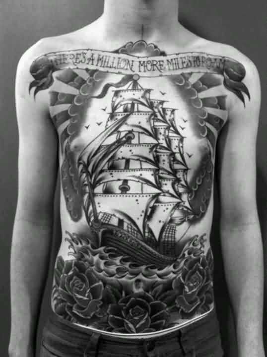 Large Ship And Roses Tattoos On Upper Body