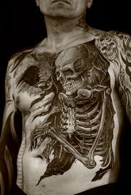 Large Skeleton Tattoo On Frontside Of Body