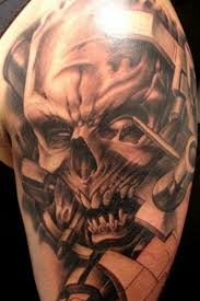 Large Skull Tattoo On Sleeve