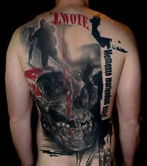 Large Smashed Skull Tattoo On Back