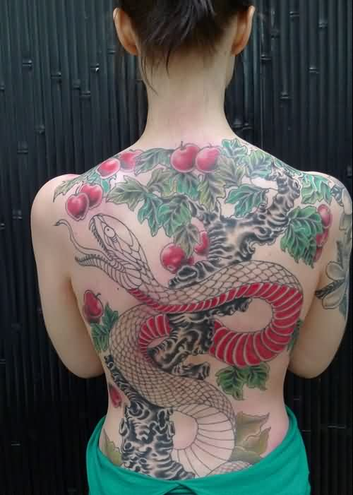 Large Snake On Apple Tree Tattoo On Back