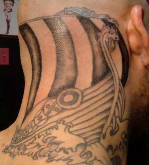 Large Viking Ship And Waves Neck Tattoos For Men