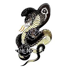 Latest Cobra And Black Roses Tattoo Design