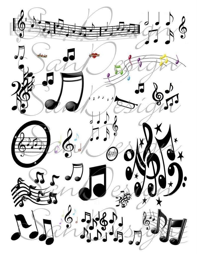 Latest Colorful Music Notes Tattoo Designs