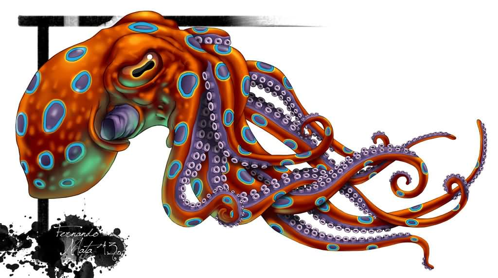 Latest Colorful Octopus Tattoo Design