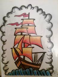 Latest Colorful Pirate Ship Tattoo Print