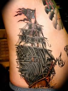 Latest Ghost Pirate Ship Tattoo On Side