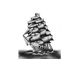 Latest Grey Ink Pirate Ship Tattoo Design