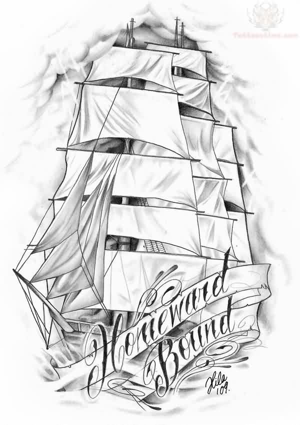 Latest Homeward Bound Ship Tattoo Sketch