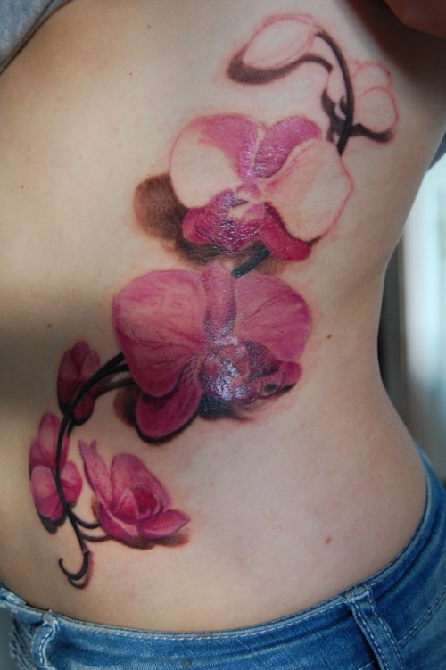 Latest Orchid Tattoo Style For Women