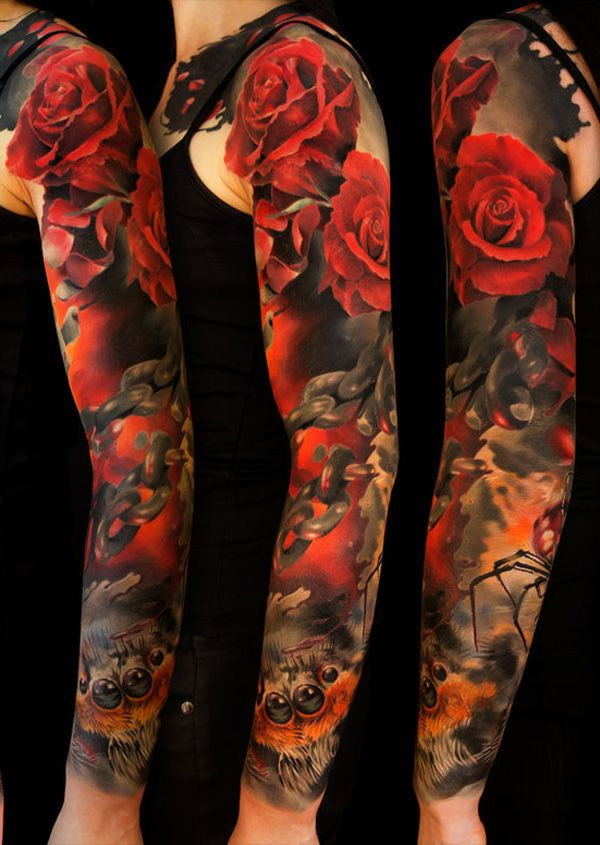 Latest Roses And Chain Sleeve Tattoos