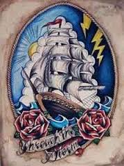 Latest Sailing Ship And Red Roses Tattoos Print