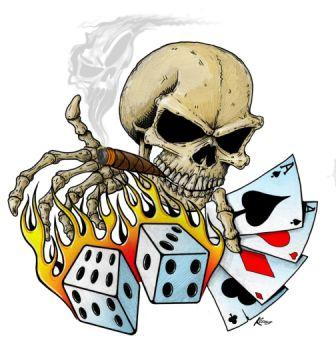 Latest Smoking Skull And Flaming Dice Tattoo Design