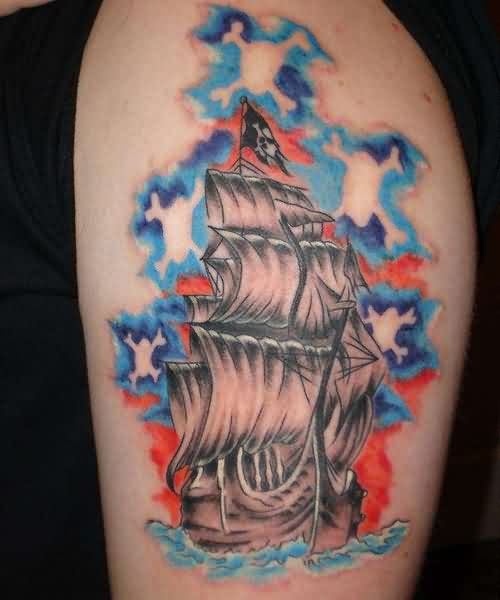 Latest Style Pirate Ship Tattoo On Biceps