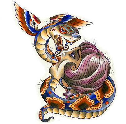 Latest Winged Snake And Girl Head Tattoo Design