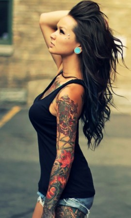 Left Sleeve Colorful Tattoos