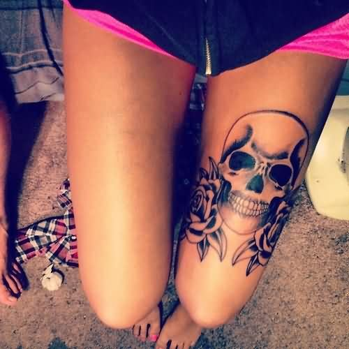 Left Thigh Skull And Roses Tattoos
