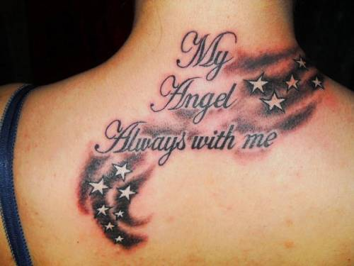 Lettering And Stars Back Neck Tattoos