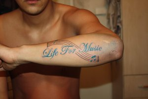 Life For Music Tattoo On Arm