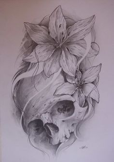 Lily Flowers And Skull Tattoo Sketch
