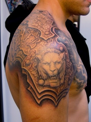 Lion Armor Tattoo On Right Shoulder