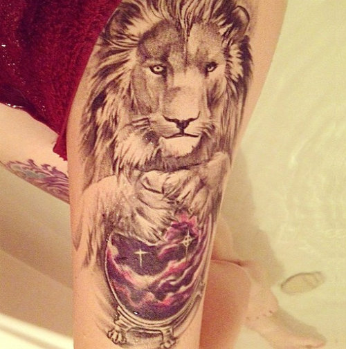 Lion Thigh Tattoo For Girls