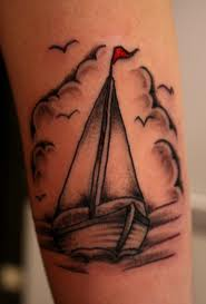 Little Birds And Sailboat Tattoos