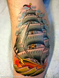 Little Birds Around Colorful Pirate Ship Tattoos