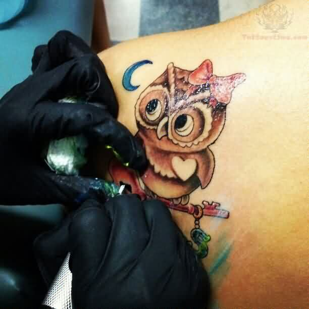 Little Blue Moon And Owl Back Shoulder Tattoos
