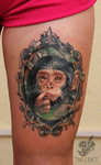 Little Monkey Tattoo On Thigh