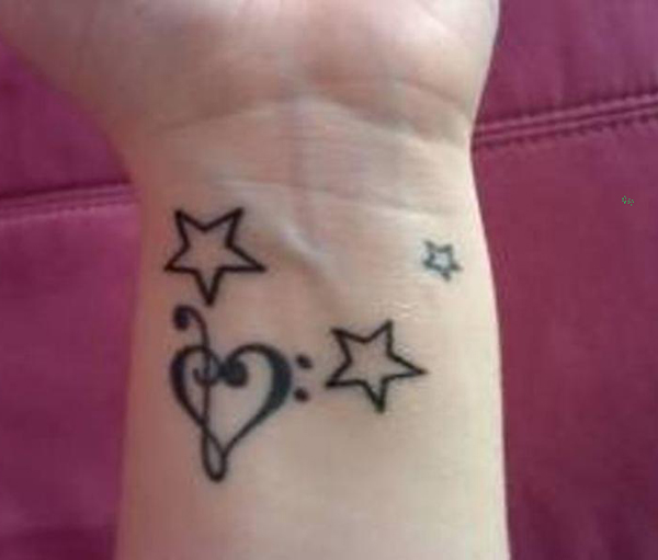 Little Music Notes Heart And Star Tattoos On Wrist