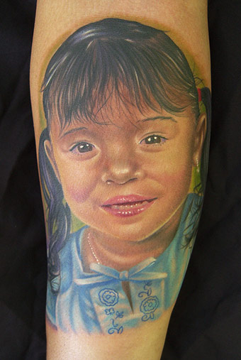Little Sports Girl Portrait Tattoo